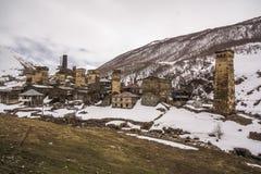Κυριώτερο σημείο ταξιδιού στο ushguli της Γεωργίας στοκ φωτογραφίες
