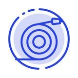 Κυρτός, ροή, σωλήνας, ποτίστε το μπλε εικονίδιο γραμμών διαστιγμένων γραμμών απεικόνιση αποθεμάτων