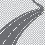 Κυρτός δρόμος με τα άσπρα σημάδια Στοκ Εικόνα