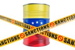 Κυρώσεις ενάντια στη Βενεζουέλα, που απαγορεύουν την εξαγωγή της της Βενεζουέλας έννοιας πετρελαίου, τρισδιάστατη απόδοση ελεύθερη απεικόνιση δικαιώματος