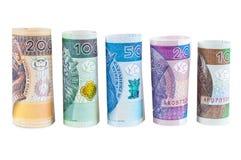 Κυλημένα zloty νέα τραπεζογραμμάτια στιλβωτικής ουσίας Στοκ Φωτογραφία