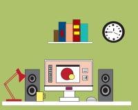 κυλημένος σχέδια χώρος εργασίας μολυβιών δεικτών σχεδιαστών Διανυσματική απεικόνιση