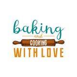 Κυλώντας καρφίτσα ή κουζίνα, μαγειρεύοντας ουσία για τη διακόσμηση επιλογών έμβλημα λογότυπων ψησίματος ή ετικέτα, χαραγμένο χέρι Στοκ φωτογραφίες με δικαίωμα ελεύθερης χρήσης