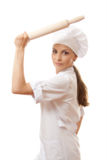Κυλώντας καρφίτσα ψησίματος εκμετάλλευσης γυναικών Baker/αρχιμαγείρων Στοκ φωτογραφία με δικαίωμα ελεύθερης χρήσης
