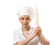 Κυλώντας καρφίτσα ψησίματος εκμετάλλευσης γυναικών Baker/αρχιμαγείρων Στοκ Εικόνες