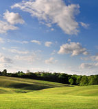 Κυλώντας πράσινοι τομείς και μεγάλος μπλε ουρανός στοκ εικόνες