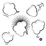 Κωμικά άσπρα διανυσματικά εικονίδια λεκτικών φυσαλίδων Στοκ Φωτογραφία