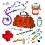 Κωμικά εικονίδια ύφους, αυτοκόλλητη ετικέττα των ιατρικών εργαλείων, τσάντα γιατρών Στοκ φωτογραφία με δικαίωμα ελεύθερης χρήσης