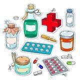 Κωμικά εικονίδια ύφους, των ιατρικών φαρμάκων, μπουκάλια των φαρμάκων Στοκ Φωτογραφία