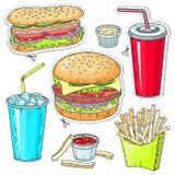 Κωμικά ζωηρόχρωμα εικονίδια ύφους, καθορισμένο γρήγορο φαγητό, χάμπουργκερ, χοτ-ντογκ, ποτά Στοκ φωτογραφίες με δικαίωμα ελεύθερης χρήσης