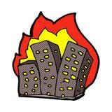 κωμικά καίγοντας κτήρια κινούμενων σχεδίων Στοκ Φωτογραφία
