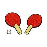 κωμικά ρόπαλα επιτραπέζιας αντισφαίρισης κινούμενων σχεδίων Στοκ εικόνα με δικαίωμα ελεύθερης χρήσης