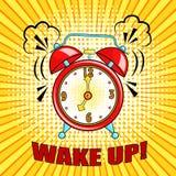 Κωμικές χτύπημα και έκφραση ξυπνητηριών με ξυπνήστε το κείμενο Vect ελεύθερη απεικόνιση δικαιώματος