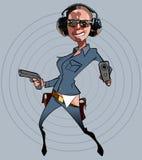 Κωμική γυναίκα αστυνομικός κινούμενων σχεδίων με τα πυροβόλα όπλα Στοκ Εικόνα