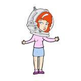 κωμική γυναίκα κινούμενων σχεδίων που φορά το κράνος αστροναυτών Στοκ Εικόνα