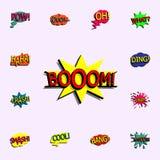 Κωμική λεκτική φυσαλίδα με το εικονίδιο κειμένων έκφρασης booom κωμικό κ απεικόνιση αποθεμάτων