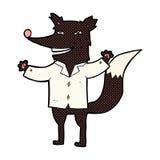 κωμικός ευτυχής λύκος κινούμενων σχεδίων που φορά το πουκάμισο Στοκ εικόνες με δικαίωμα ελεύθερης χρήσης