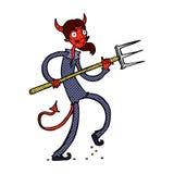 κωμικός διάβολος κινούμενων σχεδίων με το pitchfork Στοκ Εικόνα