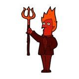 κωμικός διάβολος κινούμενων σχεδίων με το pitchfork Στοκ Εικόνες