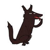 κωμικός λύκος κινούμενων σχεδίων που γλείφει το πόδι Στοκ εικόνα με δικαίωμα ελεύθερης χρήσης