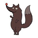 κωμικός λύκος κυματισμού κινούμενων σχεδίων Στοκ φωτογραφία με δικαίωμα ελεύθερης χρήσης