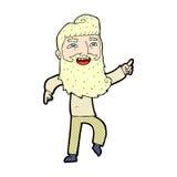 κωμικό άτομο κινούμενων σχεδίων με τη γενειάδα που γελά και που δείχνει Στοκ Εικόνες