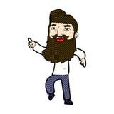 κωμικό άτομο κινούμενων σχεδίων με τη γενειάδα που γελά και που δείχνει Στοκ Εικόνα