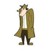 κωμικό άτομο κινούμενων σχεδίων στο παλτό καπέλων και τάφρων Στοκ Εικόνες