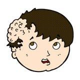 κωμικό αγόρι κινούμενων σχεδίων με την άσχημη αύξηση στο κεφάλι Στοκ Εικόνα
