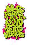 Κωμικό αλφάβητο γκράφιτι abc ζωηρόχρωμο διάνυσμα ύφους τύπων χαρακτήρων σχεδίου αλφάβητου απεικόνιση αποθεμάτων