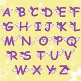Κωμικό αλφάβητο πηγών doodle κινούμενων σχεδίων με τα φτερά Στοκ φωτογραφία με δικαίωμα ελεύθερης χρήσης