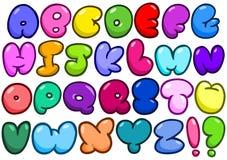 Κωμικό αλφάβητο φυσαλίδων Στοκ Φωτογραφίες