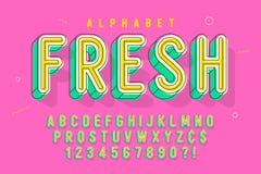 Κωμικό γραμμικό σχέδιο πηγών, ζωηρόχρωμο αλφάβητο, χαρακτήρας στοκ φωτογραφία με δικαίωμα ελεύθερης χρήσης