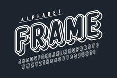 Κωμικό γραμμικό σχέδιο πηγών, ζωηρόχρωμο αλφάβητο, χαρακτήρας στοκ φωτογραφία