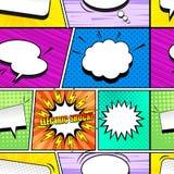 Κωμικό ζωηρόχρωμο άνευ ραφής σχέδιο ελεύθερη απεικόνιση δικαιώματος