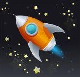 Κωμικό διαστημικό σκάφος πυραύλων κινούμενων σχεδίων απεικόνιση αποθεμάτων