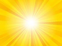 Κωμικό κίτρινο ήλιων ακτίνων υποβάθρου λαϊκό σχέδιο κιτς απεικόνισης τέχνης αναδρομικό διανυσματικό διανυσματική απεικόνιση