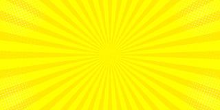 Κωμικό κίτρινο ήλιων ακτίνων υποβάθρου λαϊκό σχέδιο κιτς απεικόνισης τέχνης αναδρομικό διανυσματική απεικόνιση