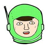 κωμικό κεφάλι αστροναυτών κινούμενων σχεδίων Στοκ εικόνα με δικαίωμα ελεύθερης χρήσης