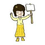 κωμικό κορίτσι χίπηδων κινούμενων σχεδίων με το σημάδι διαμαρτυρίας Στοκ Φωτογραφίες