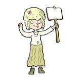 κωμικό κορίτσι χίπηδων κινούμενων σχεδίων με το σημάδι διαμαρτυρίας Στοκ εικόνα με δικαίωμα ελεύθερης χρήσης