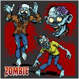 Κωμικό σύνολο Zombie - κινούμενα σχέδια zombie Στοκ Φωτογραφία