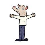 κωμικό φιλικό werewolf κινούμενων σχεδίων Στοκ Εικόνα