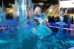 Κωμόπολη πάγου με τα γλυπτά στην πόλη Yekaterinburg, 2016 Στοκ Εικόνες