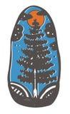 Κωνοφόρο δέντρο Μίμηση του γραμματοσήμου linocut Στοκ Εικόνα