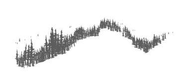 Κωνοφόρο δασικό τοπίο με συρμένα τα χέρι δέντρα που αυξάνονται στους λόφους ή τα βουνά Δασόβιο πανόραμα με τα έλατα ή τις ερυθρελ ελεύθερη απεικόνιση δικαιώματος