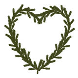 Κωνοφόρο σύμβολο καρδιών Χριστουγέννων ελεύθερη απεικόνιση δικαιώματος