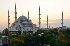 Κωνσταντινούπολη Μπλε μουσουλμανικό τέμενος στο λυκόφως Στοκ Φωτογραφία