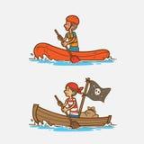 Κωπηλατώντας βάρκα Στοκ Εικόνες