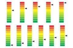 Κωδικοποιημένη χρώμα πρόοδος, ισόπεδος δείκτης με τις μονάδες Διανυσματικό Illustartion απεικόνιση αποθεμάτων